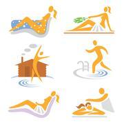 Spa wellness sauna icons Stock Illustration