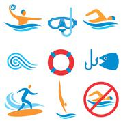 Water sport icons Stock Illustration