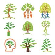 People and trees icons Stock Illustration