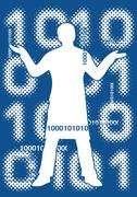 Binary code with male silhouette Stock Illustration