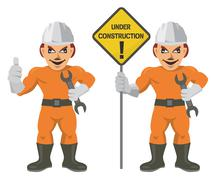 Construction worker superman - stock illustration