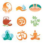 Massage spa yoga icons Stock Illustration