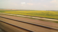 Eurostar in French countryside. Fields and road. Stock Footage