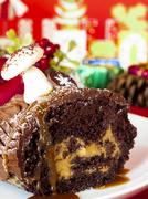 yule log cake - stock photo