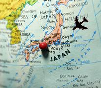 map with japan as travel destination - stock photo
