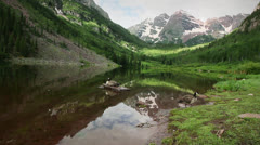 (1284) aspen maroon bells peaks wilderness colorado rocky mountain lake g Stock Footage