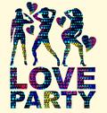 Dot girls love party vector art Stock Illustration