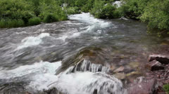 (1286) looping spring runoff mountain fishing creek colorado mounatins Stock Footage