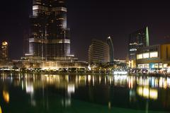 Night view of burj khalifa - the world's tallest tower at downtown burj dubai Stock Photos