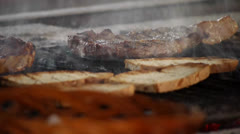 HD1080 A lot of meat on a hot grill Stock Footage