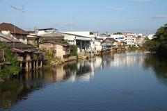 Water front village in south east asia. Stock Photos