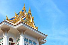 ubosot2 in temple of the wat rhai pa, trat, thailand - stock photo