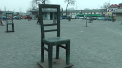 Empty chair Jewish community memorial in Krakow, Poland Stock Footage