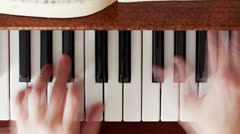 Piano, hands pianist playing music - stock footage
