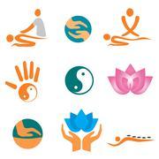 Icons of massage Stock Illustration