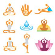 icons yoga spa massage - stock illustration