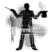 Computer magician Stock Illustration