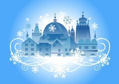 Christmas town background Stock Illustration