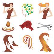 Hair cosmetic icon set Stock Illustration