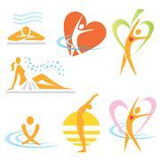 Health spa sauna icons Stock Illustration