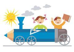 Pupils crayon locomotive Stock Illustration