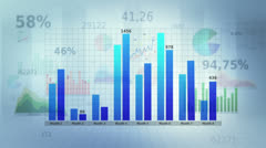 Financial graphs with free space to put your text. White. Loopable. Stock Footage