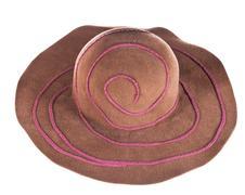 brown broad-brim felt hat - stock photo