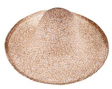 Simple summer straw broad-brim hat Stock Photos