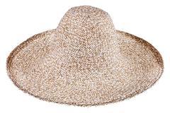 simple summer straw broad-brim hat - stock photo