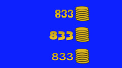 Video Game High Score Animated Gold Coins on a Blue Screen Background Stock Footage