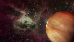 Red Planet Arrival Deep Space Nebula less Warp Stock Footage