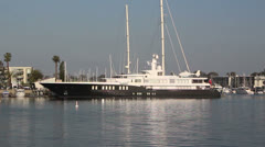 Superyacht Moored in Marina Stock Footage