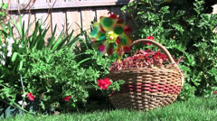 A wicker basket with small ornamental windmill. Stock Footage