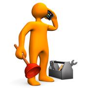 Plumber with smartphone Stock Illustration