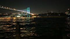 container ship passing under the Bosporus Bridge - stock footage