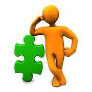 manikin green puzzle - stock illustration