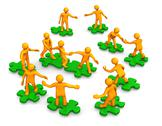 Stock Illustration of teamwork business company green puzzle