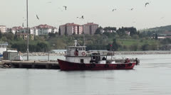 Fishing boat on the berth Stock Footage