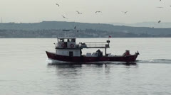 Fishing boat returns from fishing Stock Footage