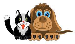 Dog and cat on white background Stock Illustration