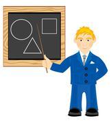 Teacher beside boards Stock Illustration