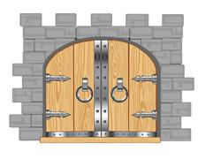 Gates in fortress Stock Illustration