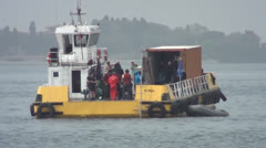 Preparation activity on diving barge Stock Footage