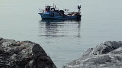 Small fishing boat seaside view audio Stock Footage
