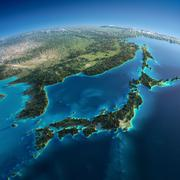 detailed earth. japan and korea - stock photo