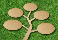 Tree recycle paper craft on grass background Stock Photos