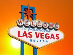 las vegas sign with sunset sky - stock illustration