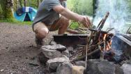 Stock Video Footage of Man Building Campfire