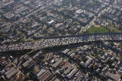 Congested la freeway aerial Stock Photos