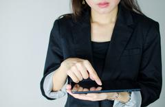 Business woman using table computer Stock Photos